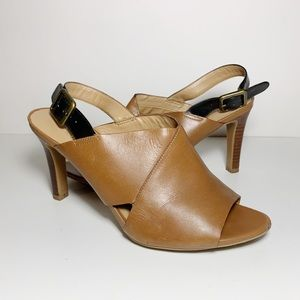 Franco Sarto Tan Leather Slingback High Heels